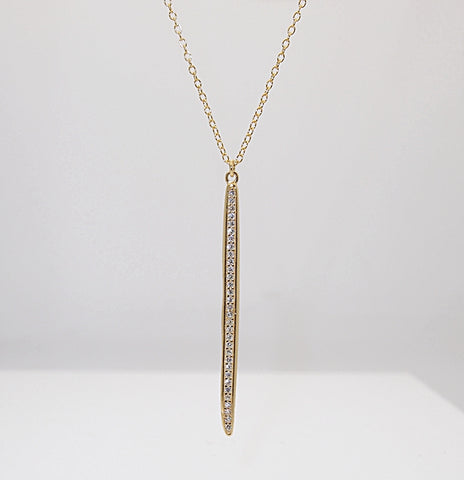 Sterling Silver Vermeil CZ Bar Pendant Necklace