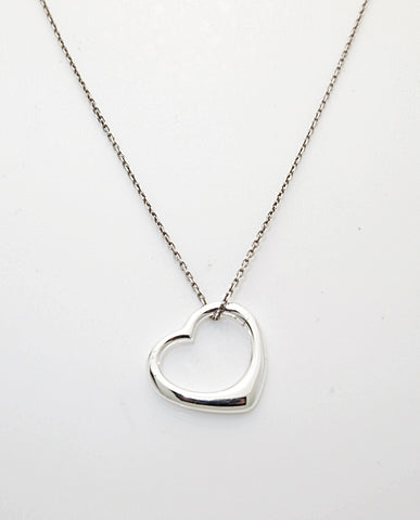 Sterling Silver Floating Heart Slide Necklace