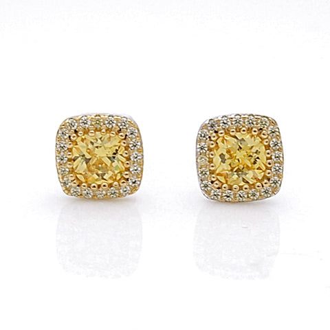 Sterling Silver Canary CZ Halo Stud Earrings