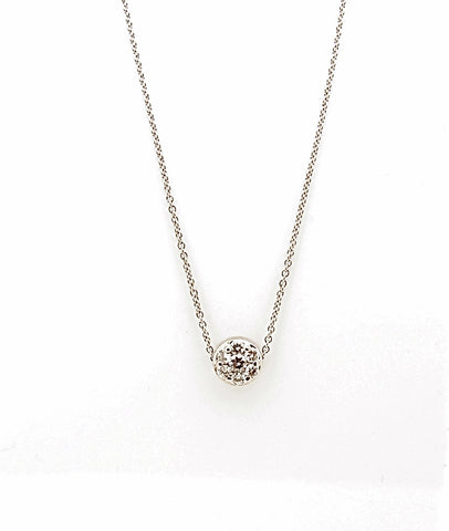 14k White Gold Diamond Cluster Slide Pendant Necklace
