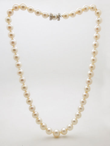 Estate 8.5 to 10.5 Graduated Cultured Pearl Necklace with 14k Diamond Clasp