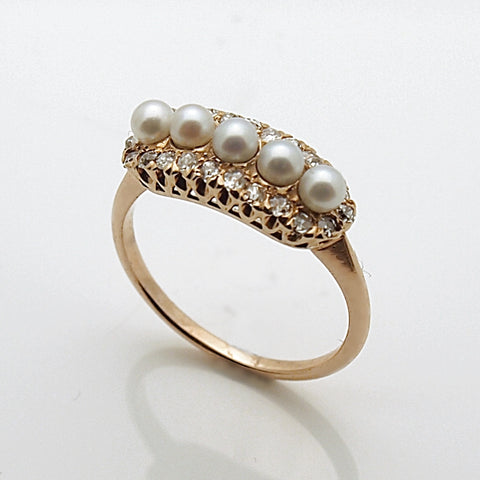 Estate 14k Diamond and Pearl Ring