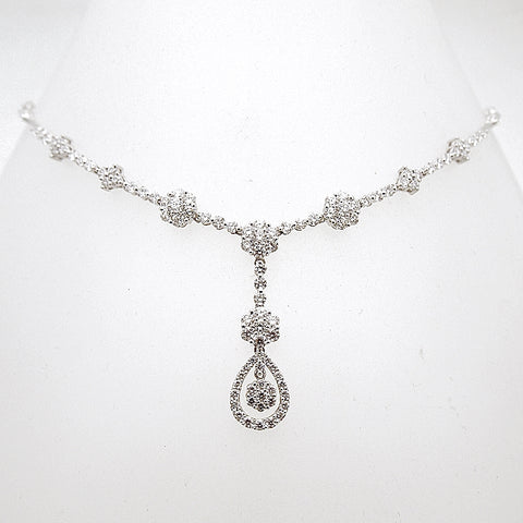 18k White Gold Diamond Dancing Y Necklace 5.92 tcw
