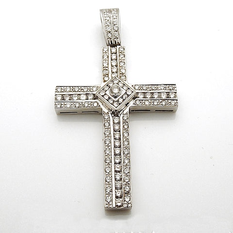 14k White Gold Diamond Cross Pendant 4.50 tcw