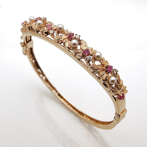 Estate 14k Yellow Gold Pearl Diamond and Ruby Bangle Bracelet