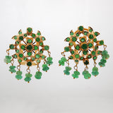 Estate 22k Gold Emerald Earrings