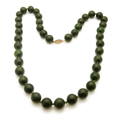 Estate Antique 14k Chinese Jade 10 MM Bead Necklace