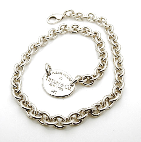 Estate Sterling Silver Please Return to Tiffany & Co Oval Tag Necklace