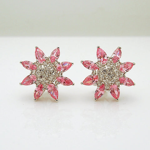 Sterling Silver Pink CZ Earrings