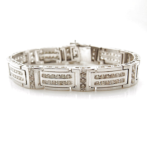 Men's 14k White Gold Diamond Link Bracelet