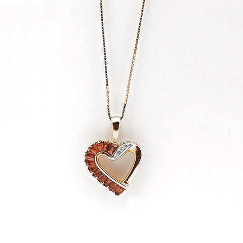 14k Garnet and Diamond Heart Pendant Necklace