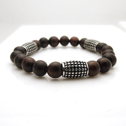 Men's Stainless Steel Rosewood Bead Stretch Bracelet