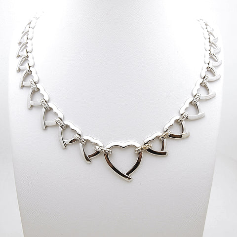 Sterling Silver Heart Link CZ Necklace