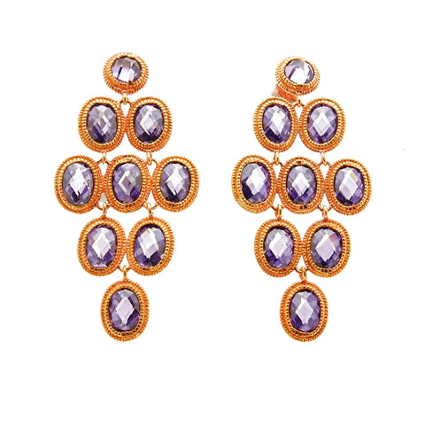 Rose Vermeil Sterling Silver Amethyst Drop Earrings