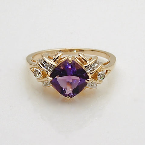 14k Gold Amethyst and Diamond Women's Ring