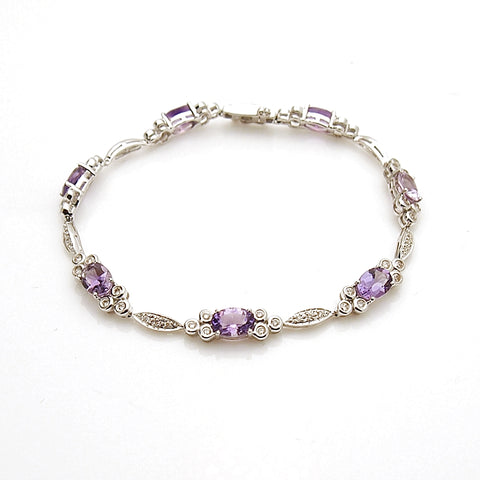 14k White Gold Amethyst and Diamond Bracelet