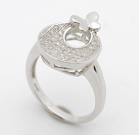 Sterling Silver CZ Crescent Moon Butterfly Ring