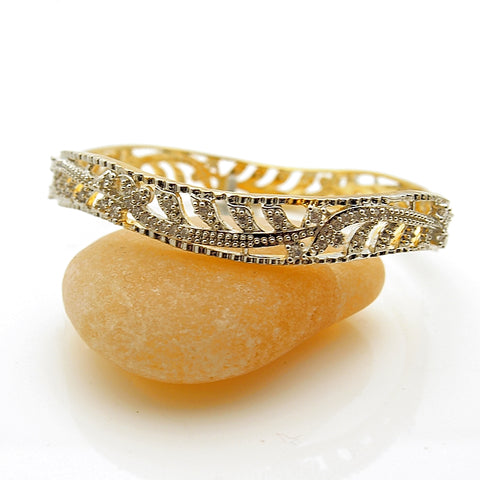 Fashion Gold Tone Crystal Slip On Bangle