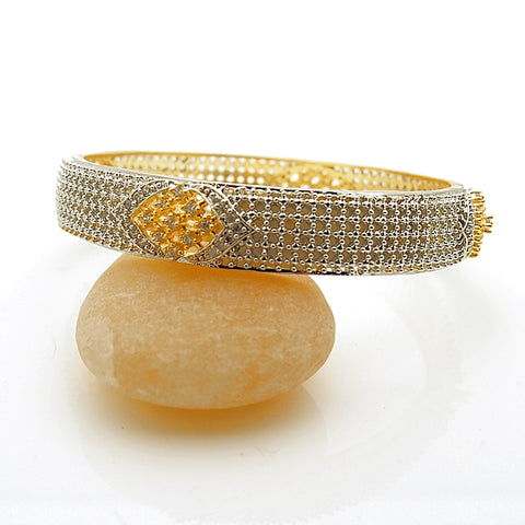 Fashion Gold Tone Slip On Crystal Bangle