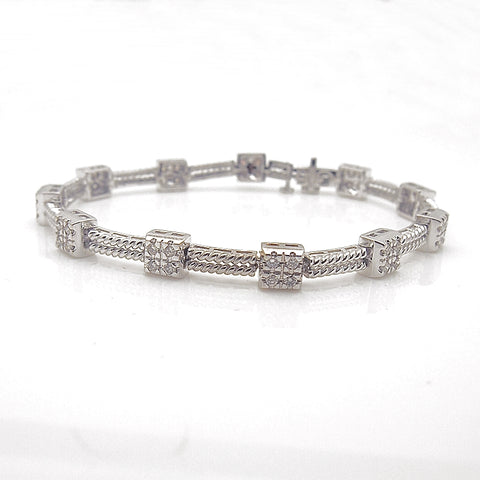 14k White Gold Diamond Station Bracelet