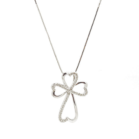 14k White Gold Diamond Heart Cross Slide Necklace