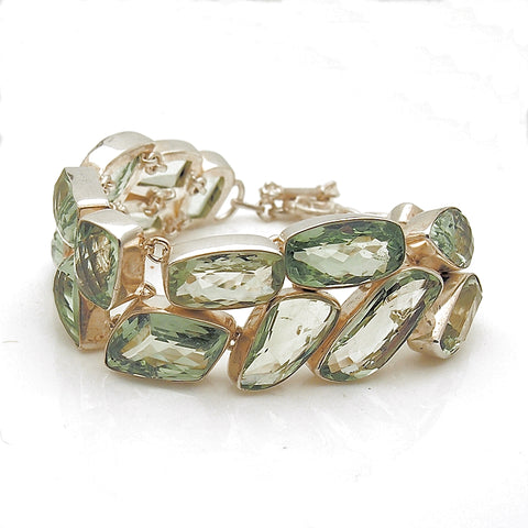 Sterling Silver Handmade Green Quartz Toggle Bracelet