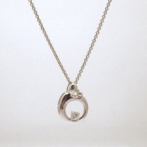 Sterling Silver Mother with Child CZ Slide Pendant Necklace