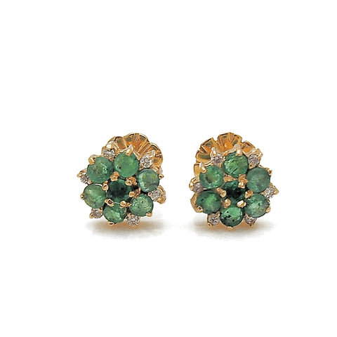 Estate 18k Yellow Gold Emerald and Diamond Cluster Stud Earrings