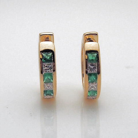 14k Gold Diamond and Emerald Hinged Hoop Earrings