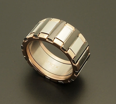 Stainless Steel IP Rose Gold Ring with Black Bars
