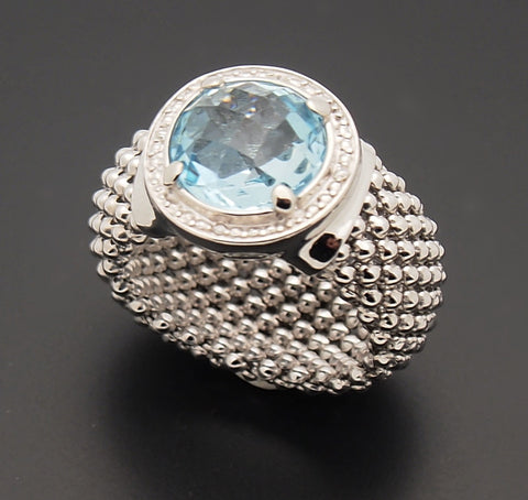 D'Landi Sterling Silver Blue Topaz Diamond Ring