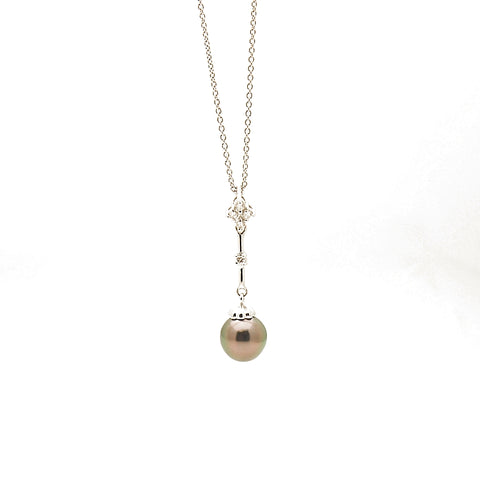 14k White Gold BLack Pearl and Diamond Pendant Necklace
