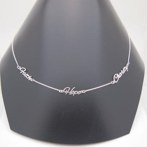 14k White Gold FAITH HOPE CHARITY Necklace