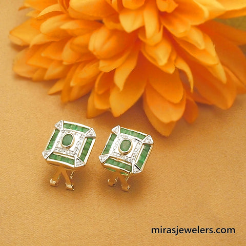 Vintage 14k Emerald and Diamond Omega Back Earrings
