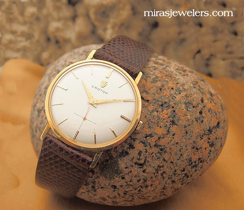 Vintage 18k Croton Mens 17 Jewel Manual Wind Watch