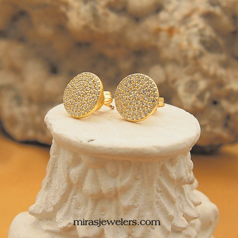 Sterling Silver Vermeil CZ Disc Stud Earrings