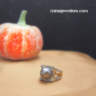 Estate Grey Pearl and Diamond Ring