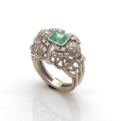 Estate Emerald and Diamond Women's Ring