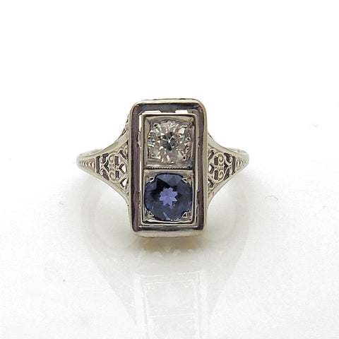 Estate Vintage 10k White Gold Diamond and Tanzanite Filigree Ring
