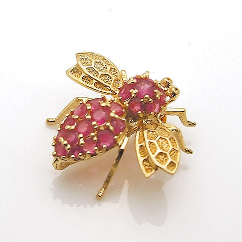 Estate 14k Yellow Gold Ruby Bee Pin