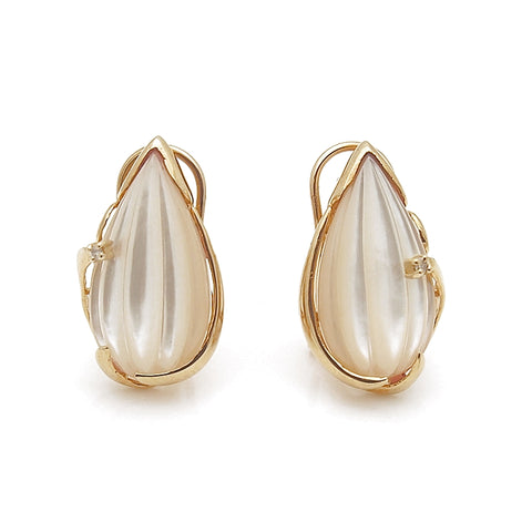 14k Yellow Gold Carved Mother of Pearl Earrings