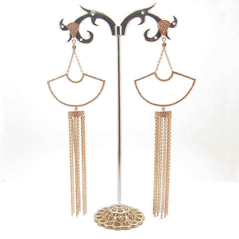 Sterling Silver CZ Tassel Drop Earrings