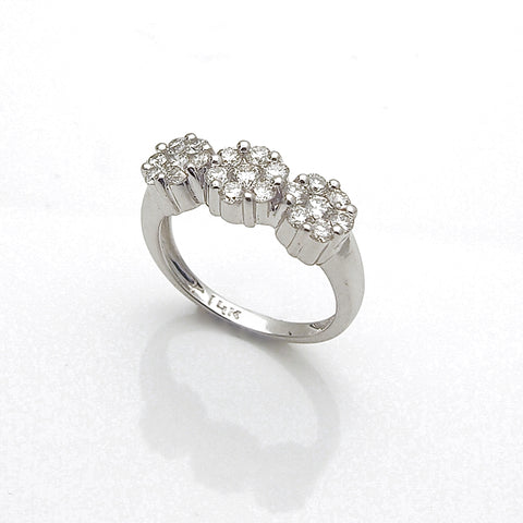 14k White Gold Three Diamond Flower Cluster Ring