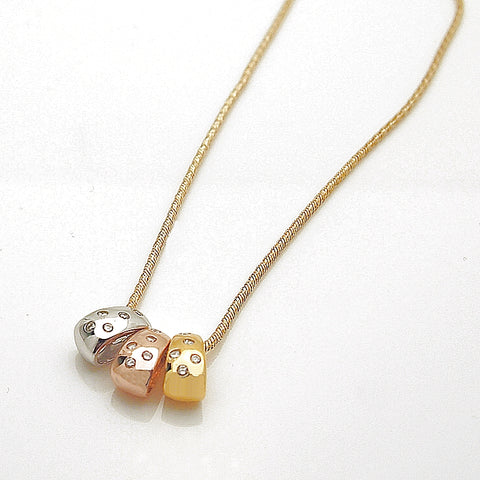 14k Tricolor Diamond Pendant Slide Necklace