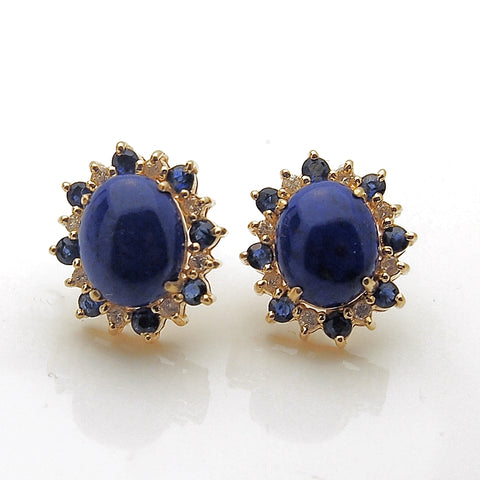 Estate 14k Yellow Gold Lapis Blue Sapphire and Diamond Earrings