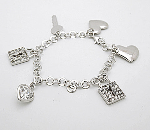 Sterling Silver Heart Lock and Key Charm Bracelet