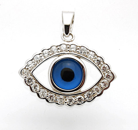 Sterling Silver Greek Key CZ Evil Eye Pendant