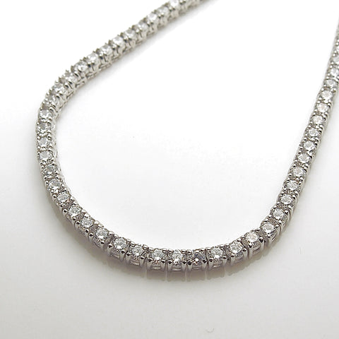 Sterling Silver CZ Tennis Line Necklace