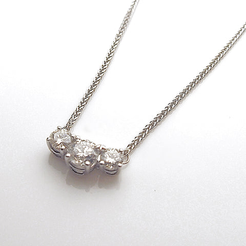14k White Gold Three Diamond Necklace