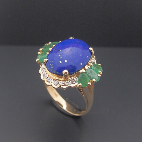 Estate 14k Lapis Emerald and Diamond Ring